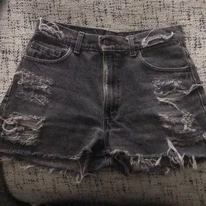 Levi's black high wasted jean shorts
